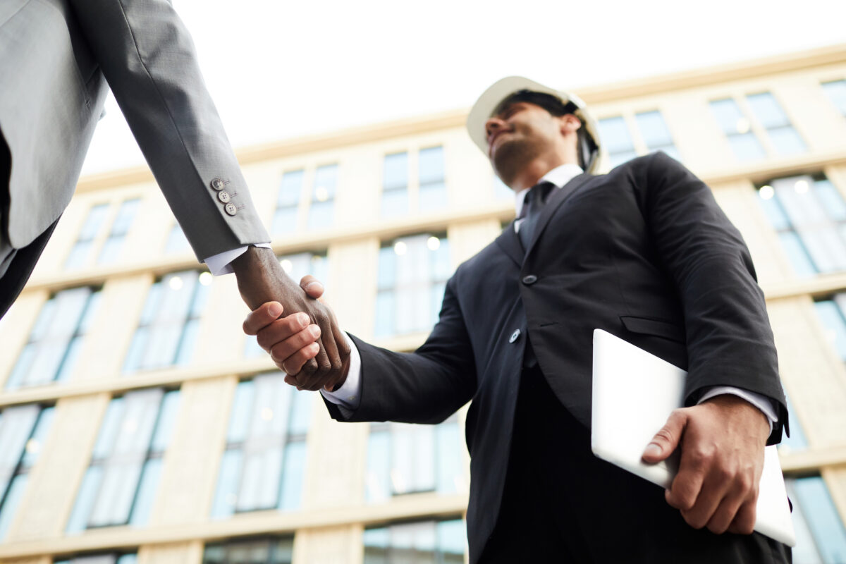 Business handshake of businessmen
